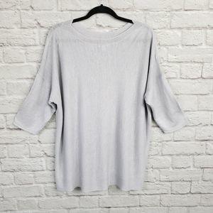 J. Jill Light Gray Linen Blend 3/4 Sleeve Knit Top